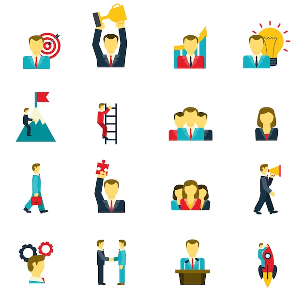 Leadership icons set Free Vector