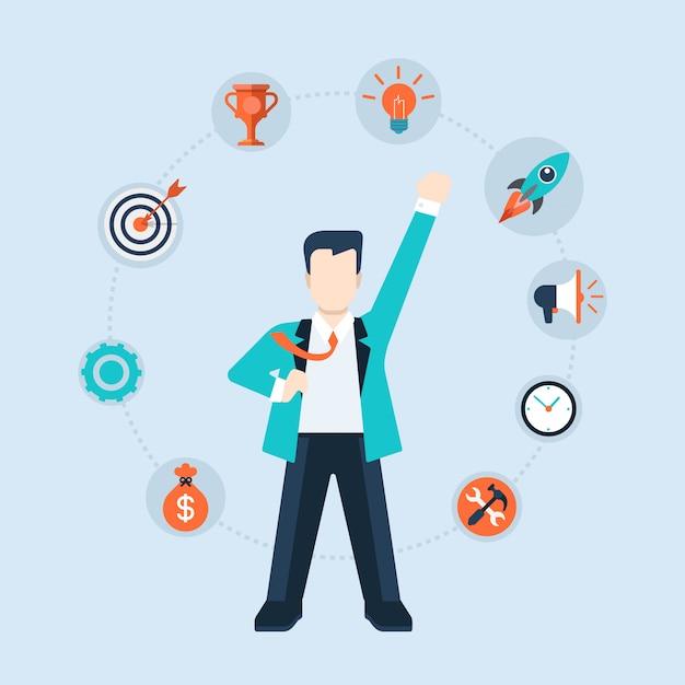 成功コンセプトフラットデザインイラストのリーダーシップ時間管理コンポーネント。ビジネスマンのceoリーダーは周りにアイコンを持つスーパーヒーローのように立ちます 無料ベクター