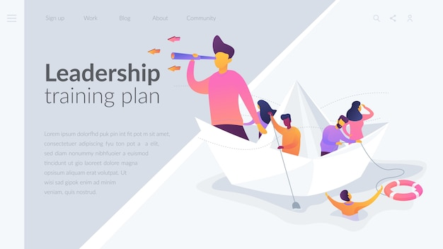 리더십 훈련 계획 방문 페이지 템플릿 무료 벡터