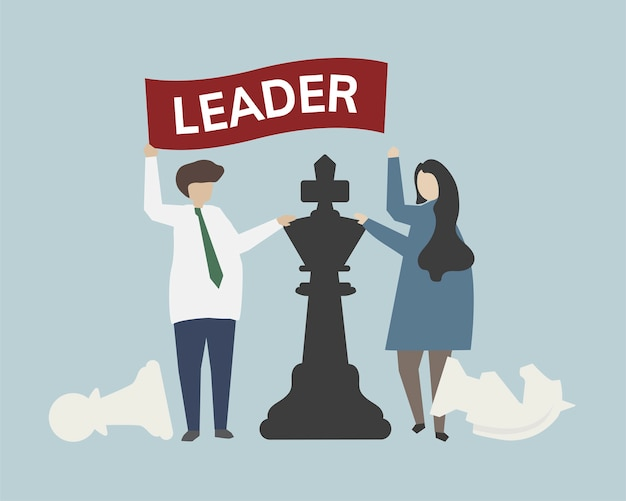 Leadership with chess strategy concept illustration Free Vector
