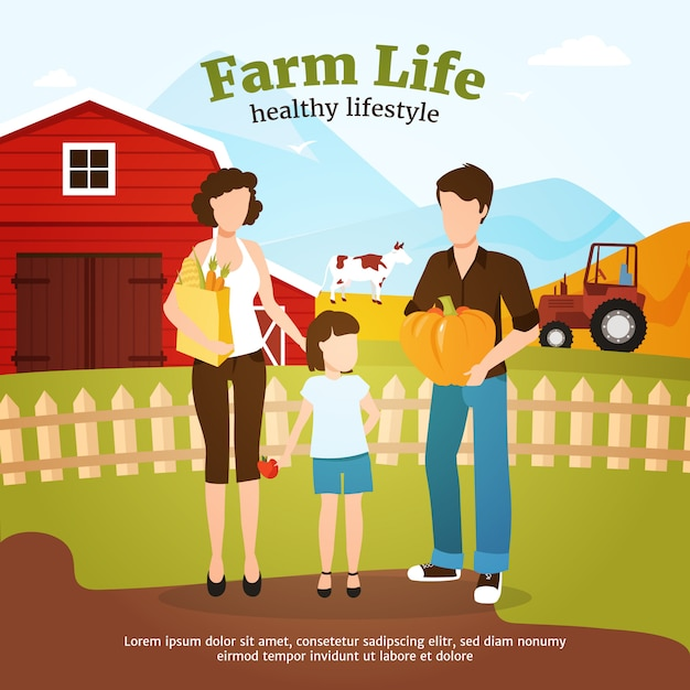 Leading healthy lifestyle family during autumn harvest time on farm Free Vector