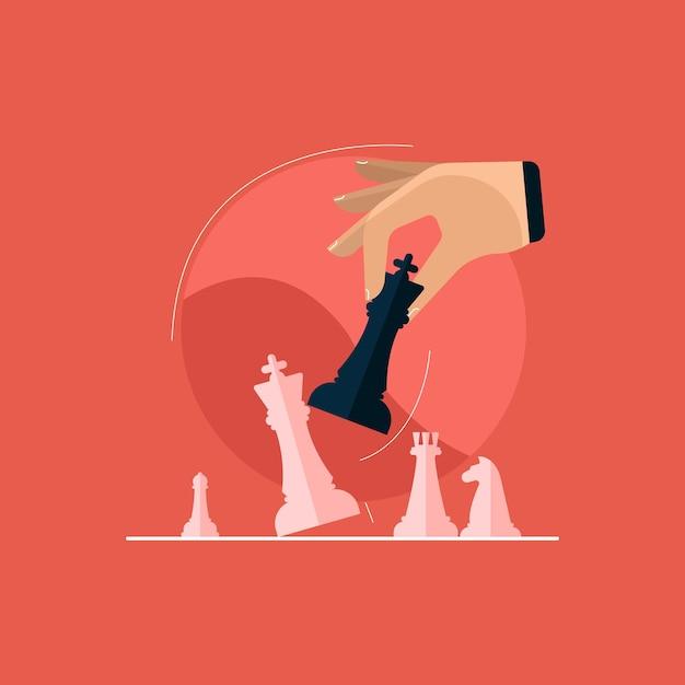 Ведущая стратегия успешной деловой конкуренции, концепция шаха и мат Premium векторы