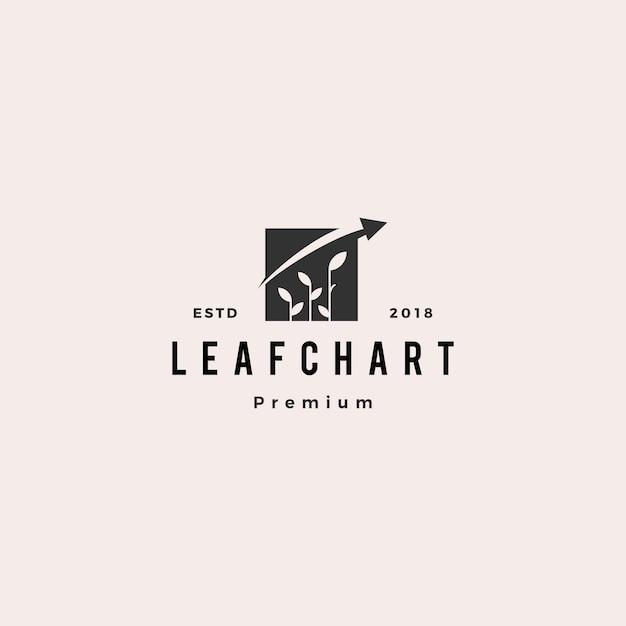 Leaf bar chart statistics logo vector icon logo Premium Vector