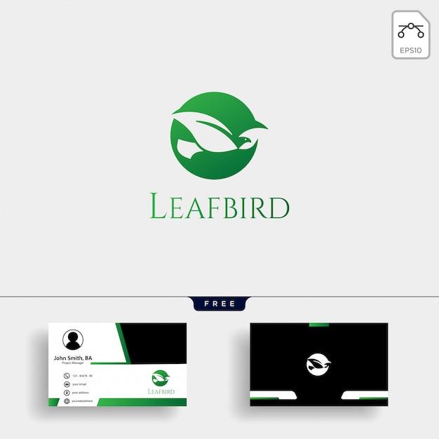 Leaf bird negative logo template with business card Premium Vector