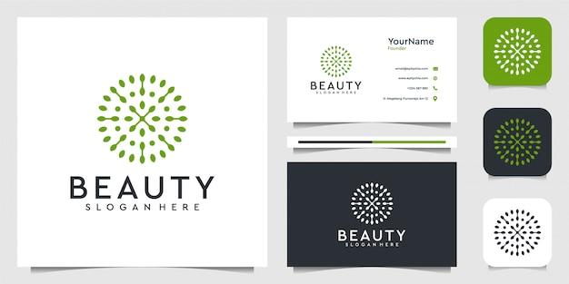 Leaf flower logo illustration  graphic  in modern style. good for plants, green, brand, advertising, and business card Premium Vector