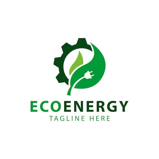 Leaf and gear wheel symbol, eco energy logo template design vector Premium Vector