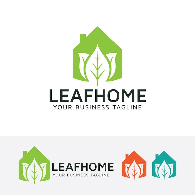 Leaf home vector logo template Premium Vector