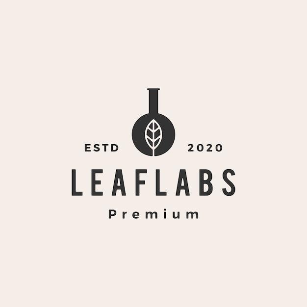 Leaf Lab Labs Hipster Vintage Logo Icon Illustration