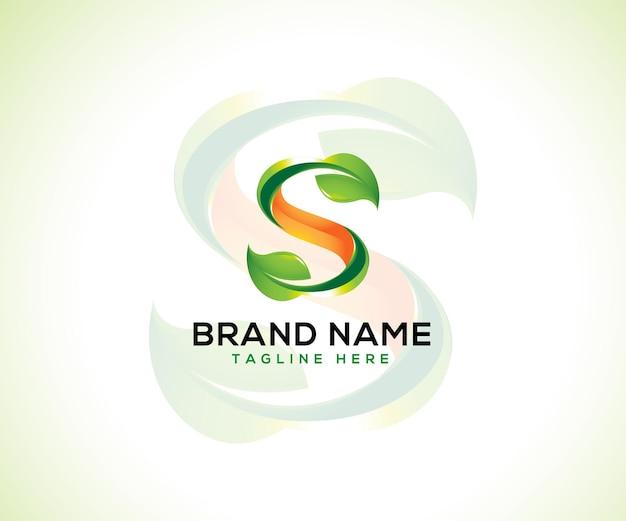 葉のロゴと頭文字s3dロゴのコンセプト Premiumベクター