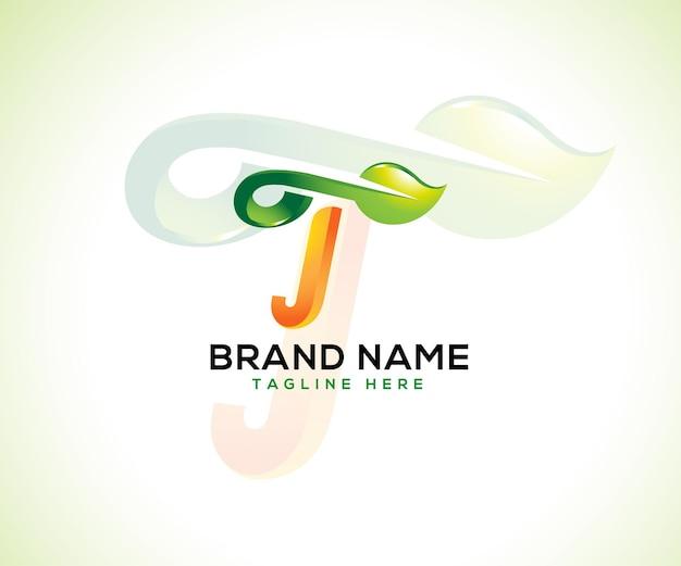 Лист логотип и буквица t 3d логотип концепции Premium векторы
