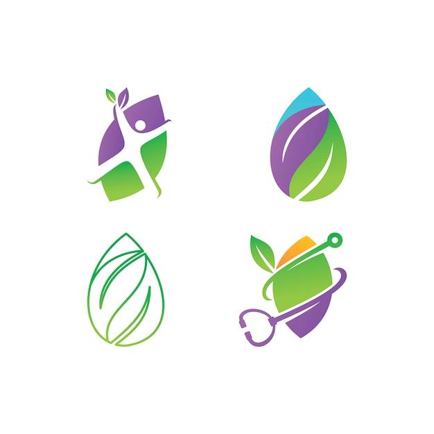 Leaf logo design vector template set Premium Vector
