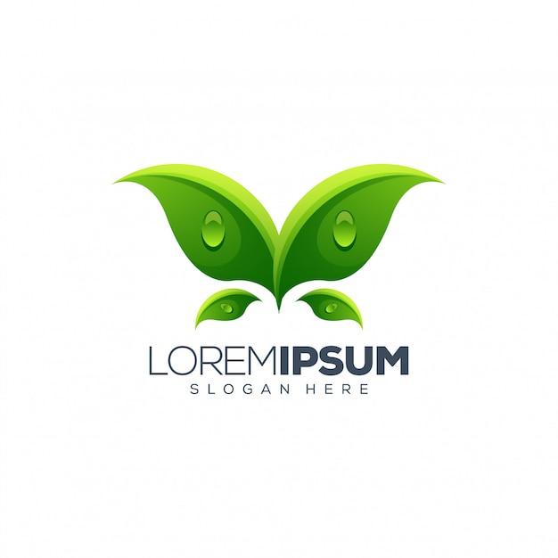 リーフのロゴデザイン Premiumベクター