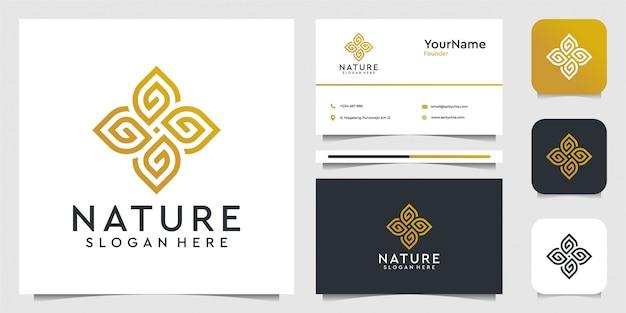 Графика иллюстрации логотипа орнамента листа в концепции искусства линии. костюм для спа, украшения, лист, цветок, реклама, йога и визитка Premium векторы