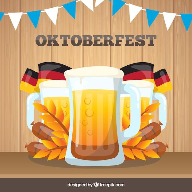 Leaflet of oktoberfest beers with german flags