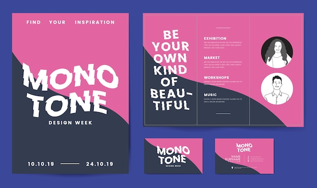 Leaflet, posters, and business card template Free Vector