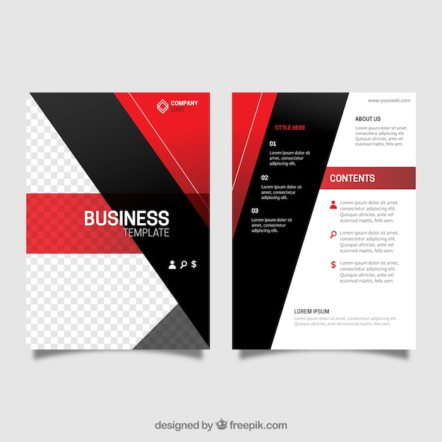 Leaflet template with red and black shapes Vector | Free Download