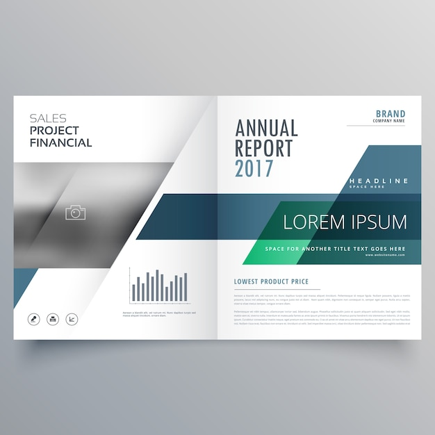 Bifold o modello di brochure rivista di design professionale con forme geometriche Vettore gratuito