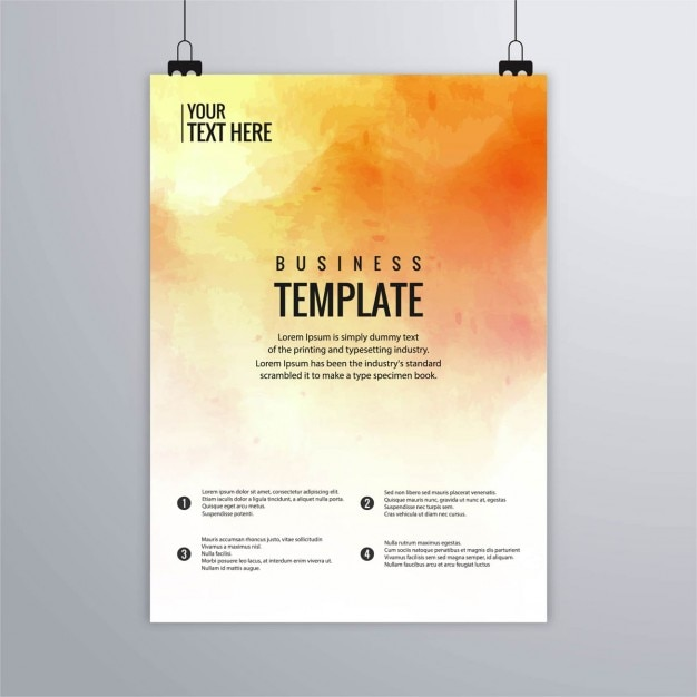 Leaflet with warm watercolors Free Vector
