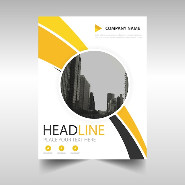 Leaflet with yellow and black shapes Free Vector