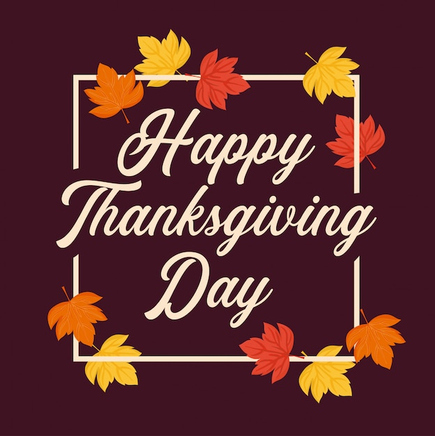 Leafs frame of thanksgiving day Premium Vector