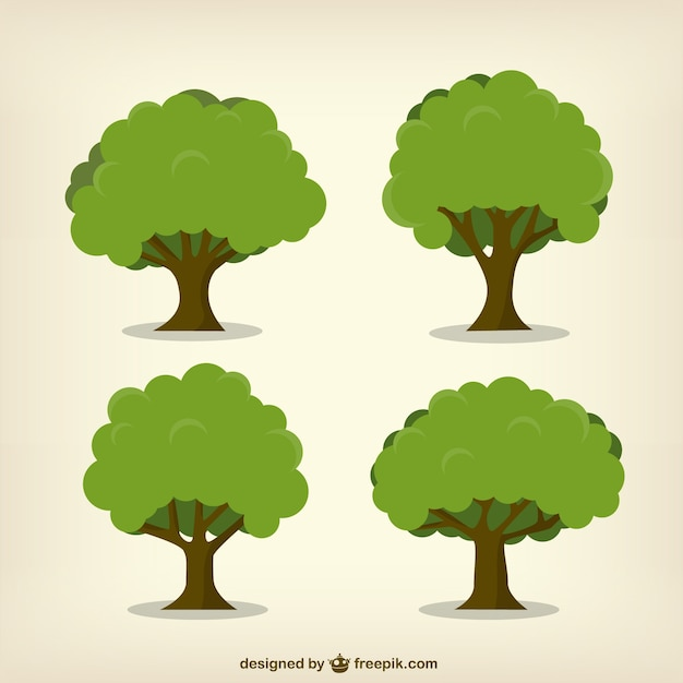 Leafy trees Free Vector