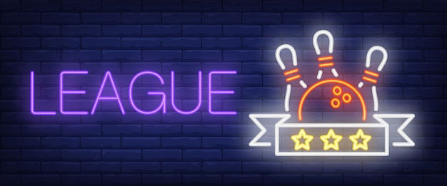 League neon text with ball and skittles Free Vector