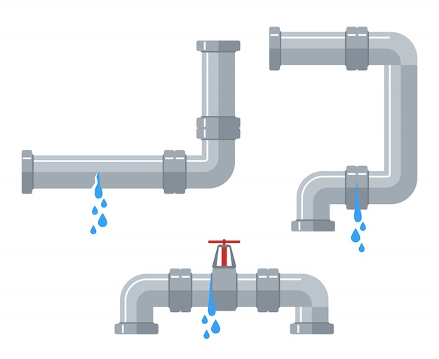 Leaking water pipes. broken steel and plastic pipeline with leakage, leaking valve, dripping fittings vector set Premium Vector