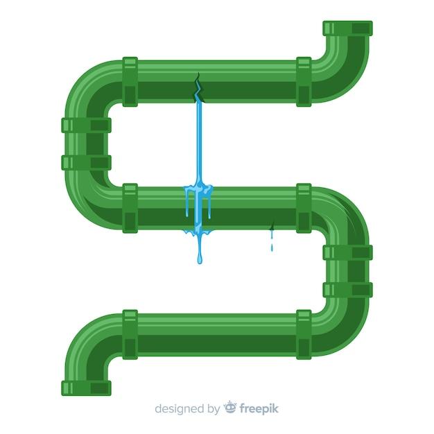 Leaky pipe in flat design Free Vector