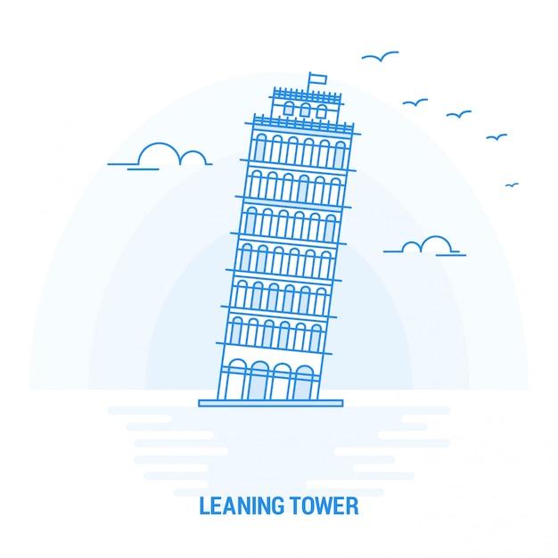 Leaning tower blue landmark Premium Vector