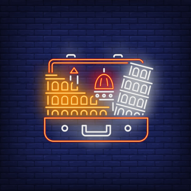 Leaning tower of pisa and colosseum in open suitcase neon sign Free Vector