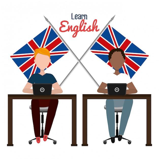 Выучить английский дизайн Бесплатные векторы