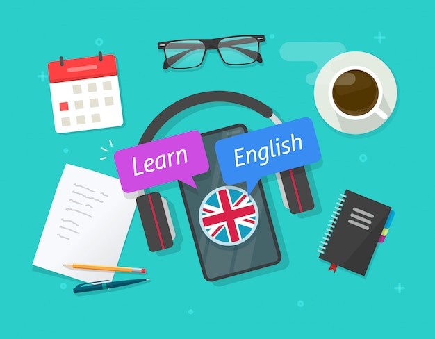 Learn english online on mobile phone or study foreign language on smartphone lesson on desk table flat cartoon image Premium Vector