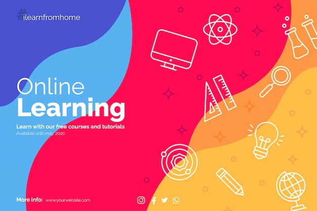 Learn from home banner with education icons Free Vector