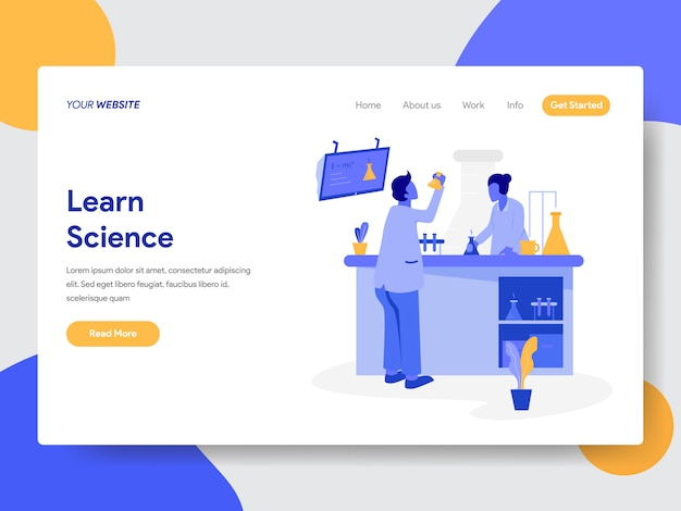 Learn science illustration for web pages Premium Vector