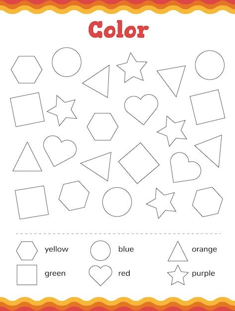 Premium Vector Learn Shapes And Geometric Figures. Color Preschool Or Kindergarten  Worksheet.