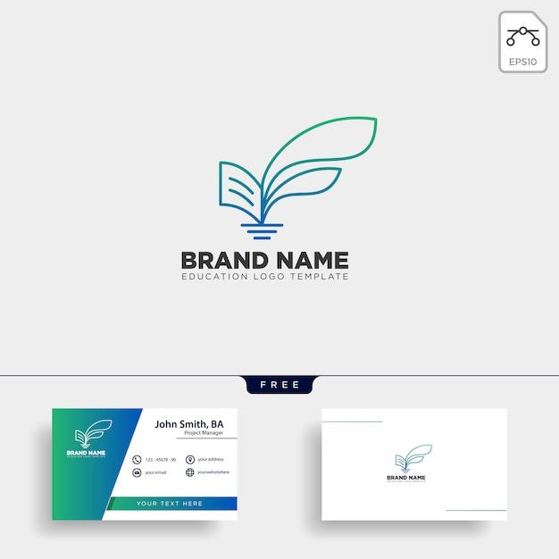 Learning book plant leaf tree line logo Premium Vector