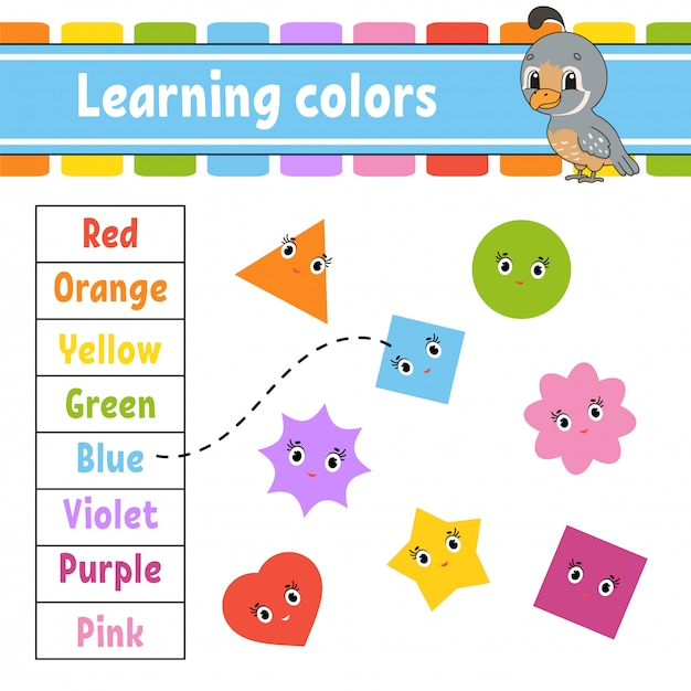 Learning colors. education developing worksheet. activity page with pictures. Premium Vector