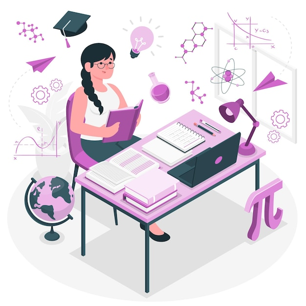 Illustrazione del concetto di apprendimento Vettore gratuito