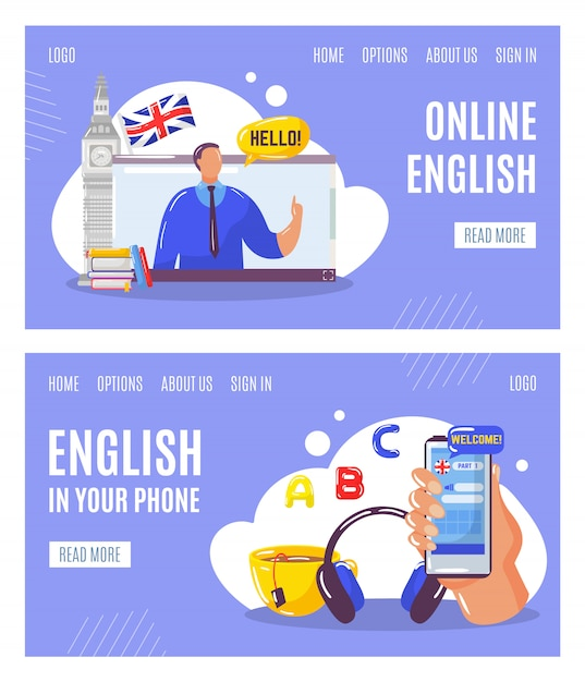 Learning english language online with teacher, education in your telephone web banners set  illustration. Premium Vector