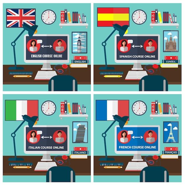 Изучение иностранного языка онлайн Premium векторы