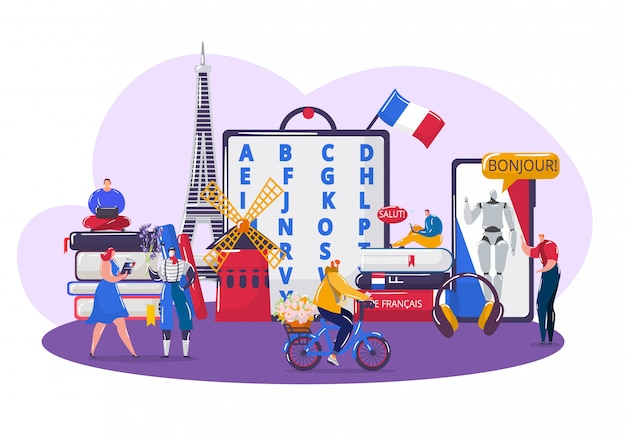 Learning french language , cartoon tiny student people learn french, using app smartphone on white Premium Vector