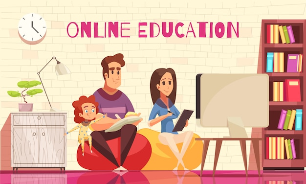 Learning home distant education for family with kids cartoon composition with young parents behind computer Free Vector