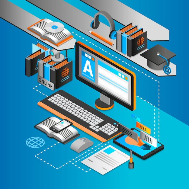 Learning isometric concept Free Vector