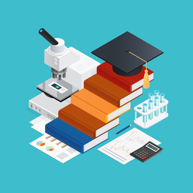 Learning isometric design concept Free Vector