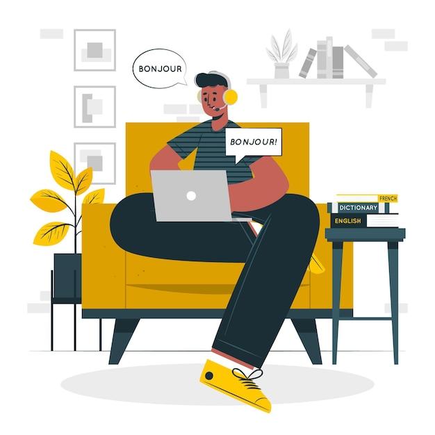 Illustrazione di concetto di lingue di apprendimento Vettore gratuito
