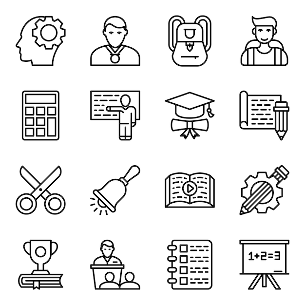 Learning line icon pack Premium Vector