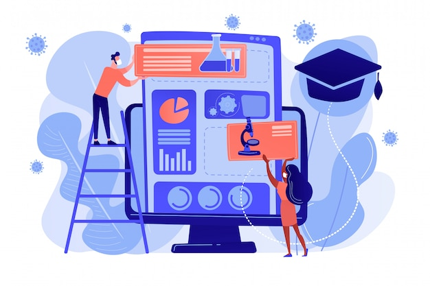 Learning management system for home-schooling concept. Premium Vector