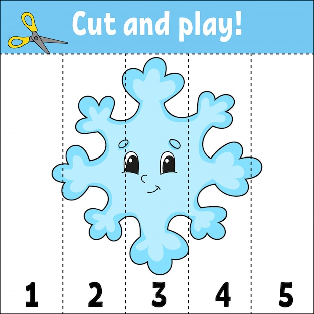 Learning numbers. cut and play. education developing worksheet. game for kids. activity page. puzzle for children. riddle for preschool. Premium Vector