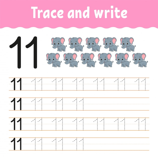 Learning numbers for kids. education developing worksheet. Premium Vector