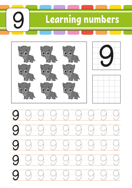 Learning numbers for kids Premium Vector